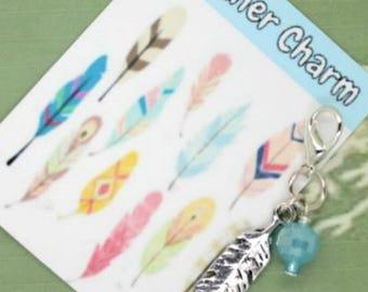 Feather Charm - Feather Clip - Keychain Charm - Zipper Pull - Bracelet Charm