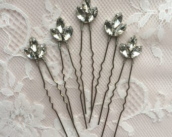 Crystal hair pins Set of 3 hair pins Rhinestone hair pins Bridal hair pins Wedding hair pins Bridesmaid hair pins Bridal hair jewelry