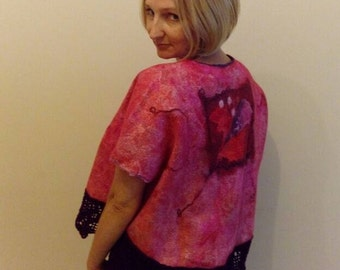Felted unique bilateral top with sleeves and original print of wool and cotton with wool handmade lace claret color, eco style for women