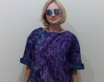 Felted woolen bilateral top with a sleeve 3/4 on a cotton basis, everyday clothes for women, color shades green and violet