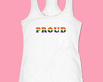 PROUD Gay Pride Shirt, LGBT Shirt, Pride Crop Top, Lesbian Shirt, Pride Rainbow Shirt, Equality