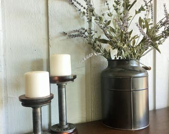 Pipe candle holders - Industrial Decor - Rustic Decor - Urban - Industrial Chic Decor - Rustic Modern - steel candle holders - centerpiece