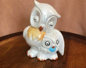 Ceramic Owl Mother and Child