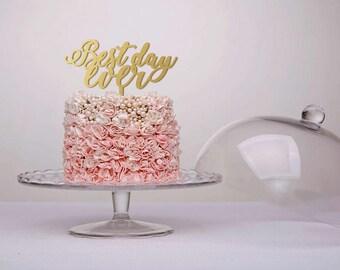 Best Day Ever Cake Topper Wedding Cake Topper Rustic Cake Topper Wood Wedding Cake Topper Gold Silver Cake Topper Anniversary Wedding Decor