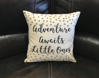 Adventure Awaits Little Ones Twin Baby Gift Nursery Baby Shower Gift Throw Pillow