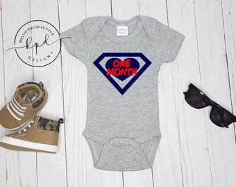 Navy and Red Monthly Onesies Set 1-12 for Baby Boy | baby shower gift | baby boy shower | 12 month set