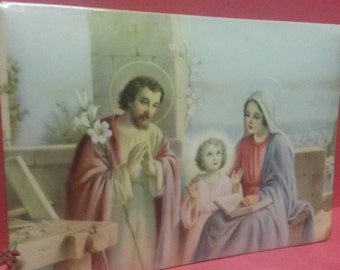 Vintage Celluloid Religious Picture of The Virgin Mary, Saint Joseph and Infant Jesus / Holy Family