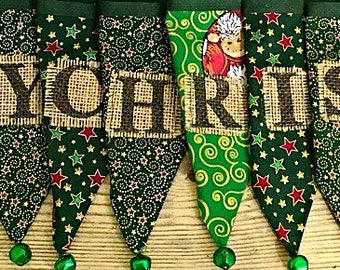 Sale......  CHRISTMAS BUNTING, festive bunting, cotton bunting, Christmas garland, festive flags, jingle bells