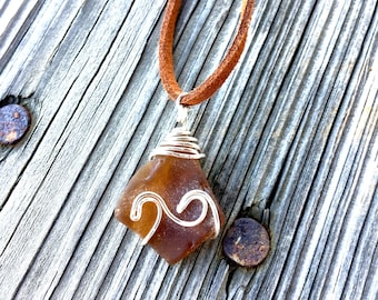 Genuine Brown Sea Glass Wave Pendant