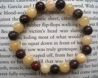Red Poppy Jasper & Yellow Honey Jade Beaded Bracelet