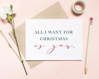 all i want for christmas is you card, love christmas card, for husband christmas card, for wife christmas card / SKU: LNHO02