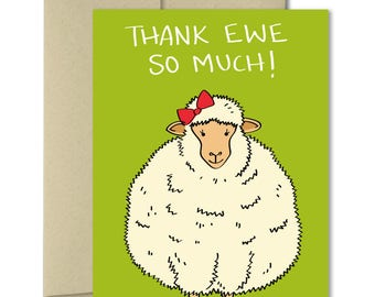 Thank you Cards - Greeting Cards - Thank you notes - Note Cards - Animal Cards - Punny cards - Puns - Thank Ewe - Sheep card - Cute cards