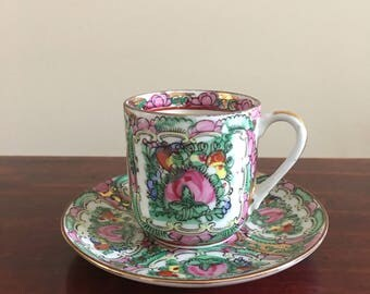 Vintage Demitasse Cup And Saucer ACF Japanese Porcelain Ware Decorated In Hong Kong Porcelain Ware