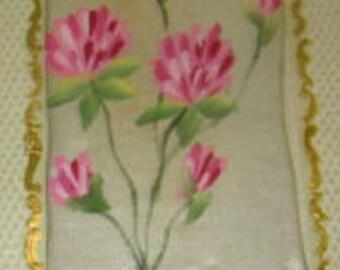 Vintage Hand Painted Floral Silk Postcard