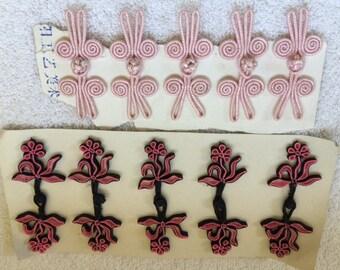 Vintage ornate closures in pink.