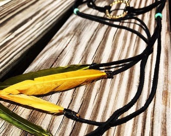 Boho Black Suede Leather Choker Necklace with Green and Gold Feathers and Gold Ring Pendant