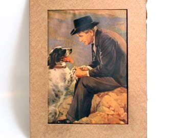 1935 Color Litho Print of Will Rogers & His Dog Signed A. Delia