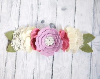 Felt Flower Crown, Purple 1st birthday girl, felt flower headband, toddler headband, flower girl headband, Baby shower gift, photo props