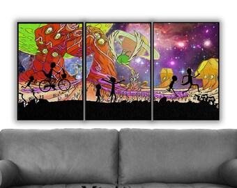 Rick and Morty Set of 3, Wall Art Decor, Rick and Morty Galaxy Print, Rick and Morty Art, Rick Morty Art Print, Rick and Morty Poster, Art