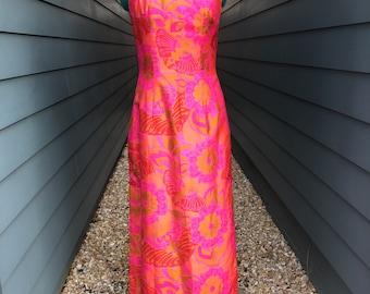 1970s Silk Chinoiserie Dress // Silk Vintage Dress // Vintage Silk Dress // Chinese Dress // Chenogasm Dress // Qipao Dress