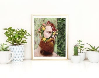 Beard Print, Beard Wall Art, Beard Poster, Flower Wall Art, Flower Print, Flower Poster, Flower Beard, Flower Man