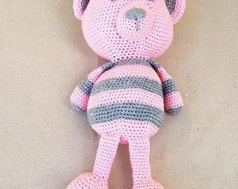 Teddy Bear Amigurumi animal Crochet Bear Crochet animal Handmade bear Soft bear Stuffed bear Gift for baby girl Baby Christmas gift Pink