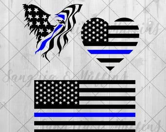 Flag With Blue Line, US Blue Line, Heart Flag Blue line, Eagle Flag Blue Line Car decal Window decal Laptop decal Tablet decal US flag decal