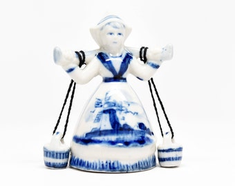 Netherlands Dutch Milkmaid in Blue ~ Netherlands Collectibles ~ Netherlands Milkmaids ~ Netherlands Figurines ~ Blue Delft Pottery ~ Delft