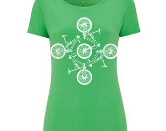 Womens Green Mountain Bike Tshirt Hand Screen Printed Limited Edition