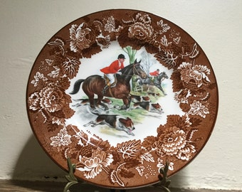 Wood & Sons ironstone display plate Made in England Brown transferware Horse and hound Hunting scene Equestrian decor Collectibles.