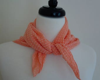 Vintage orange scarf with white embroidery detail