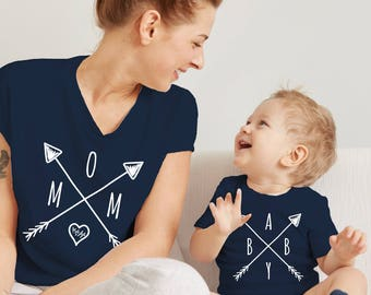MATCHING SET- 2 Tees- Mama Baby Wanderlust / Mommy and me / Baby Tees / Travel Tshirts / Nature Tees / Compass / Kids Tee / Baby Shower Gift