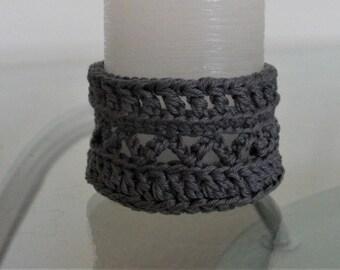 candle holder crochet candleholder lace candle holder gray candle holder
