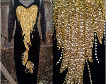 Dazzling One of a Kind American Vintage Gold Sequins Velvet Fishnet Long Sleeves Mandarin Collar Maxi Dress
