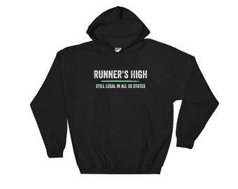 Runner's High Legal All 50 States Funny Runner Running Run Athletic Sports Marathon Training Coach Track Field Sprinting Jogging Hoodie Hood