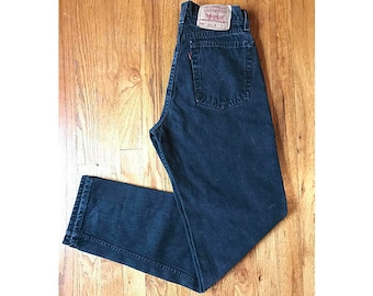 RARE WOMENS Vintage High Waisted Levis Jeans! Fit Size 27/28/29 Black Dark Wash 560's Red Label Mom Wedgie Jeans Zipper Fly 90s