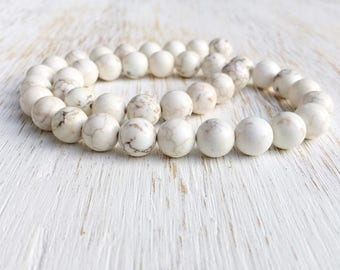 "Smooth Round 10mm Magnesite Beads / 16"" Strand Genuine Gemstone Beads, Creamy White Off White Beads Brown Matrix Rustic Stone Beads (G1006)"
