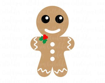 Gingerbread Man SVG File - Christmas Clipart - Christmas Cookie DXF EPS Png Cut File - Diecut Machine Digital File - Instant Download