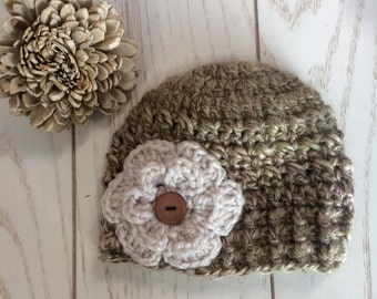 SALE**Baby Girl Winter Beanie with Flower and Wooden Button