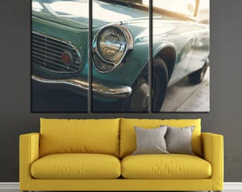 Old colorful vintage car canvas print Ready to Hang.Retro Car Wall Art Multi Panel Photoprint. Multi-Sized Canvas print