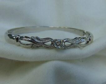 Bracelet, zircon,  silver tone metal, open close clasp