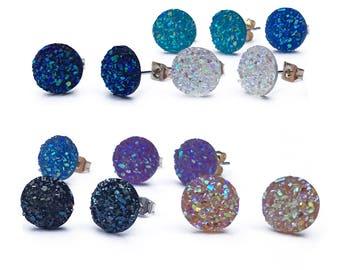 Medium 10MM Borderless Druzy Earrings, HYPOALLERGENIC, Faux Druzy, Stud Earrings, Druzy Stud Earrings, Boho Jewelry.