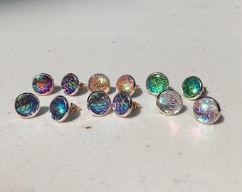 Medium 10MM Rose Gold Mermaid Earrings, HYPOALLERGENIC, Stud Earrings, Earring, Boho Jewelry, Rose Gold, Mermaid Scales