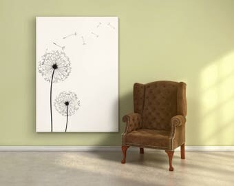 Black and white dandelion poster, scandinavian minimalist decor print wall art design dandelion. Free worldwide shipping.