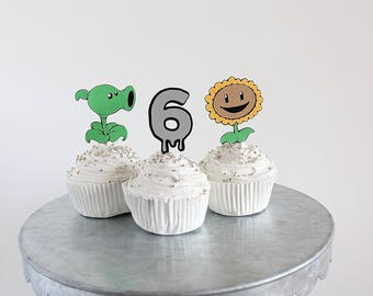 Plants vs zombies cupcake toppers, plants vs zombies party supplies, plants vs zombies birthday, decorations