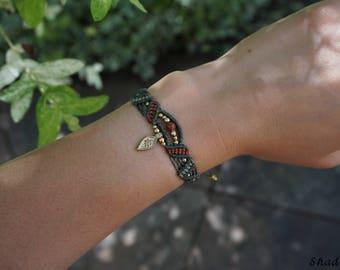 three coloured macrame bracelet in olive green