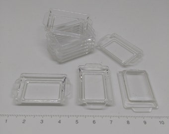 DISCOUNT 30% Set of 10 pcs, Miniature Clear Plastic Trays, Dollhouse Food Tray, Dollhouse Bakery Shop