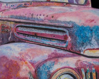 Old Rusty, Rusty Ford truck, Illustration, Ford truck print, Old car, Colorful