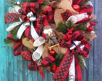 Christmas wreath, Christmas  door hanging, Santa wreath, Rustic beuty, Weinachtskranz, Türkranz