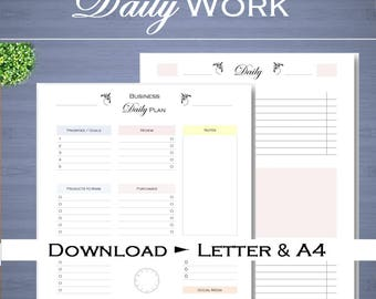 Daily business planner, work day organizer, daily schedule, for small business, printable Letter size and A4 pdf